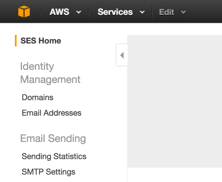 amazon SES dashboard menui
