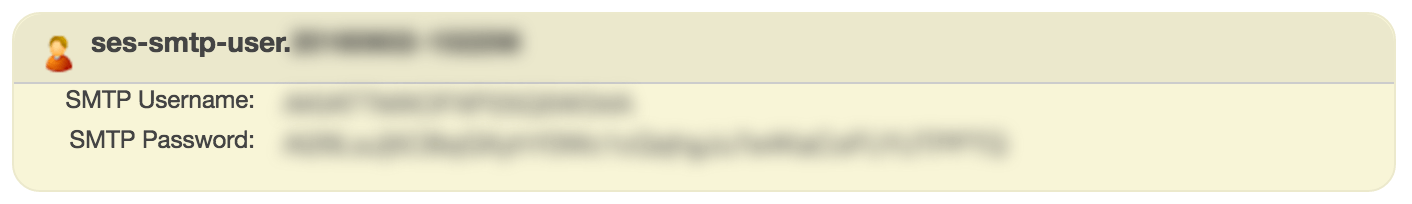 Amazon SES SMTP credentials