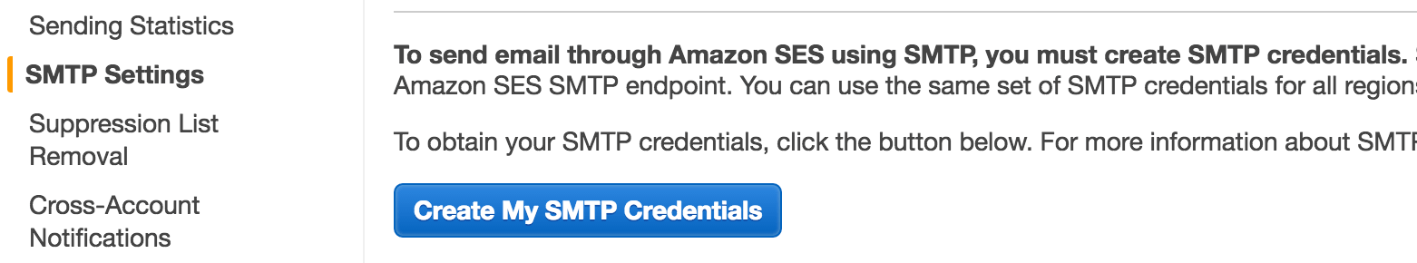 Create SMTP credentials