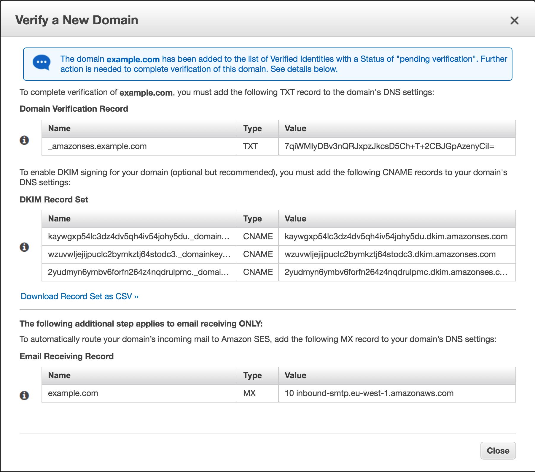 verify domain namespace settings