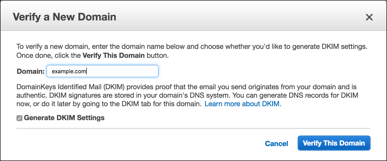 verify domain on AmazonSES